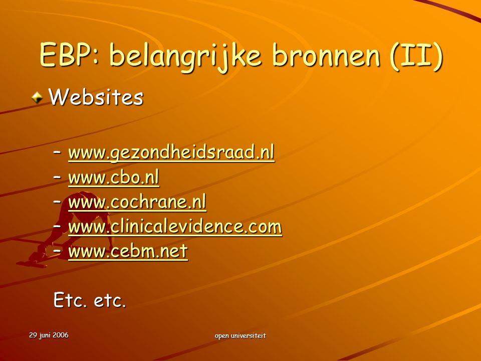 EBP: belangrijke bronnen (II)