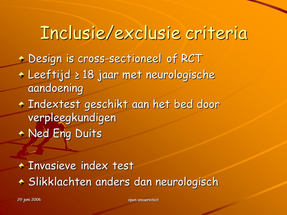 Inclusie/exclusie criteria