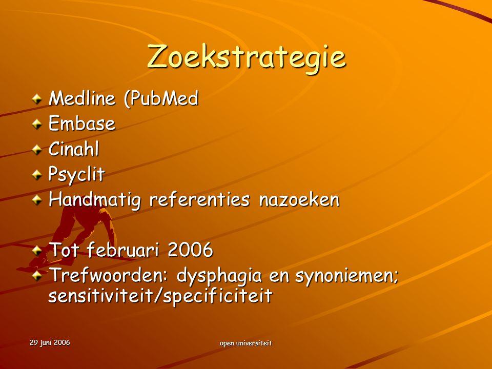 Zoekstrategie Medline (PubMed Embase Cinahl Psyclit