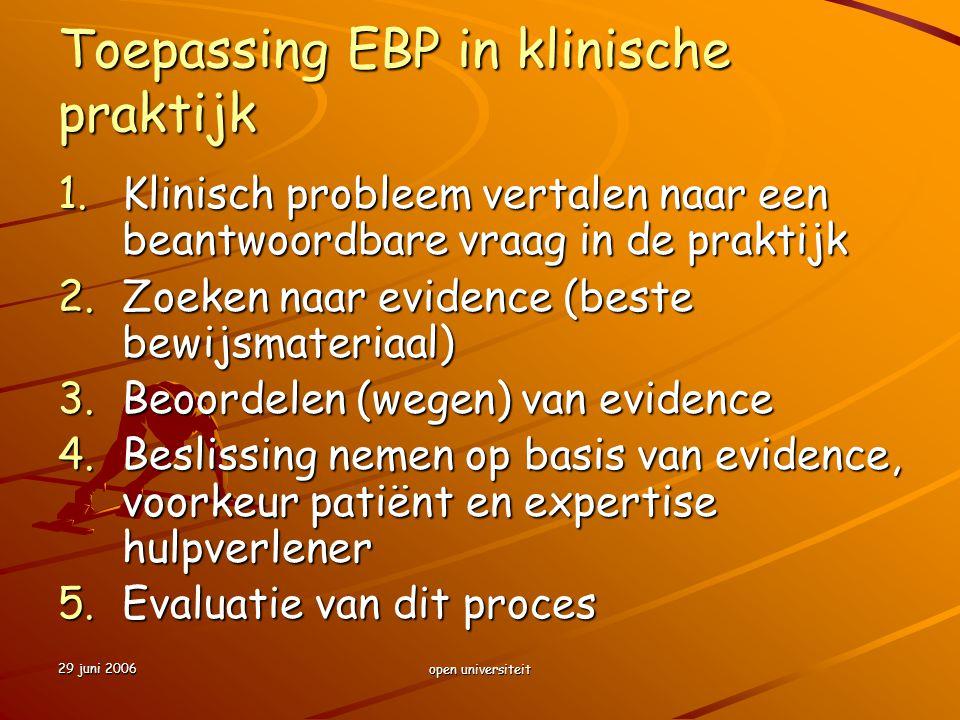 Toepassing EBP in klinische praktijk
