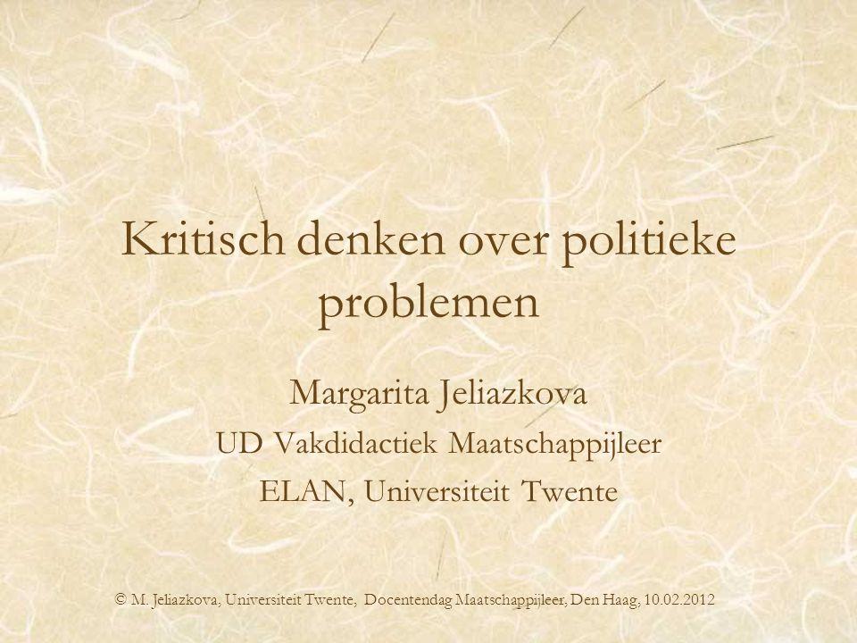 Kritisch denken over politieke problemen