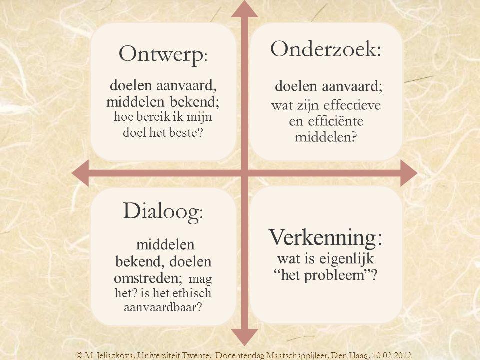 doelen aanvaard; wat zijn effectieve en efficiënte middelen Dialoog: