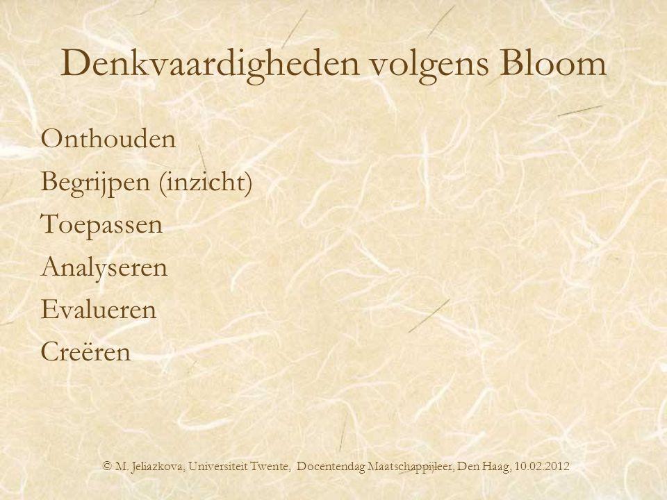Denkvaardigheden volgens Bloom