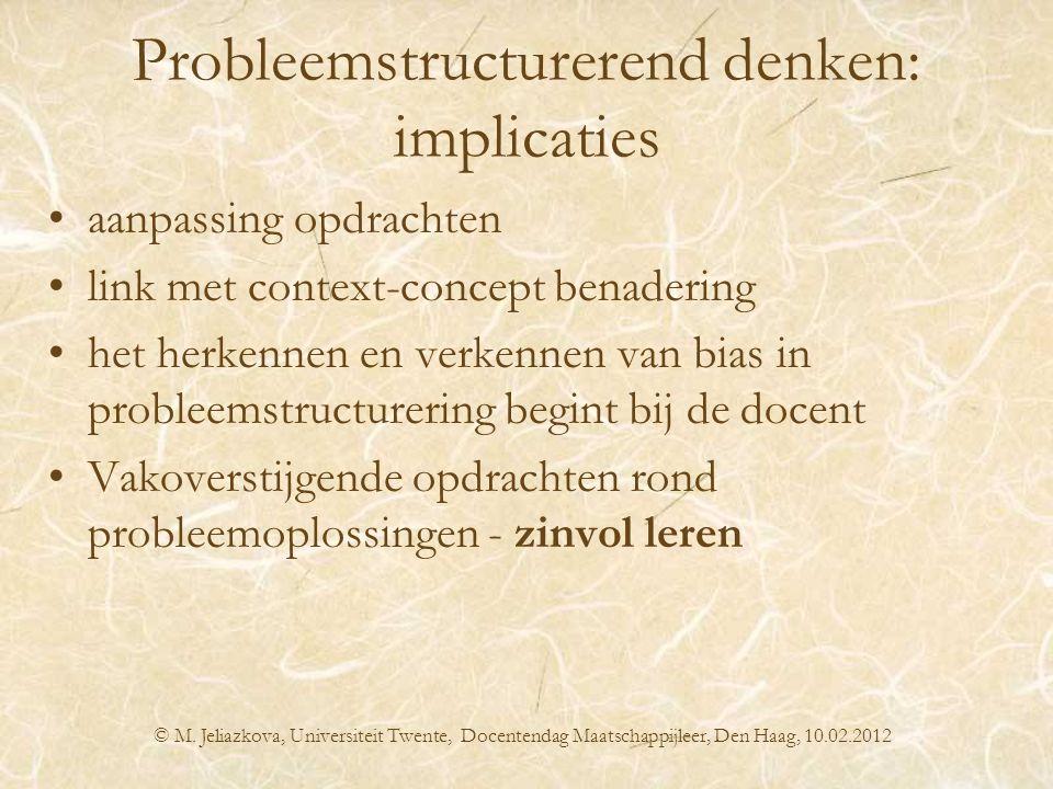 Probleemstructurerend denken: implicaties