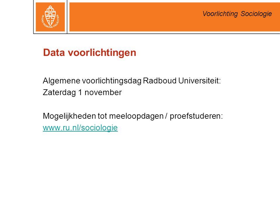 Data voorlichtingen Algemene voorlichtingsdag Radboud Universiteit: