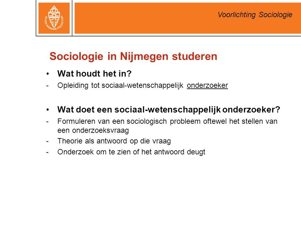 Sociologie in Nijmegen studeren