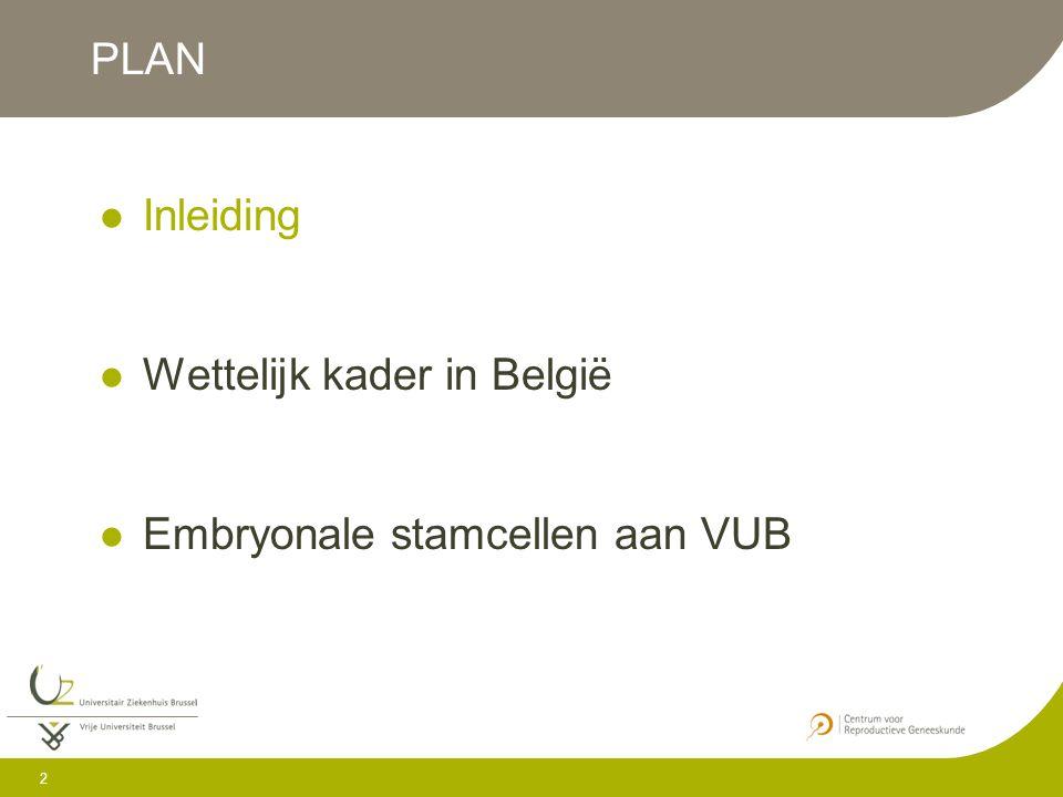 PLAN Inleiding Wettelijk kader in België Embryonale stamcellen aan VUB