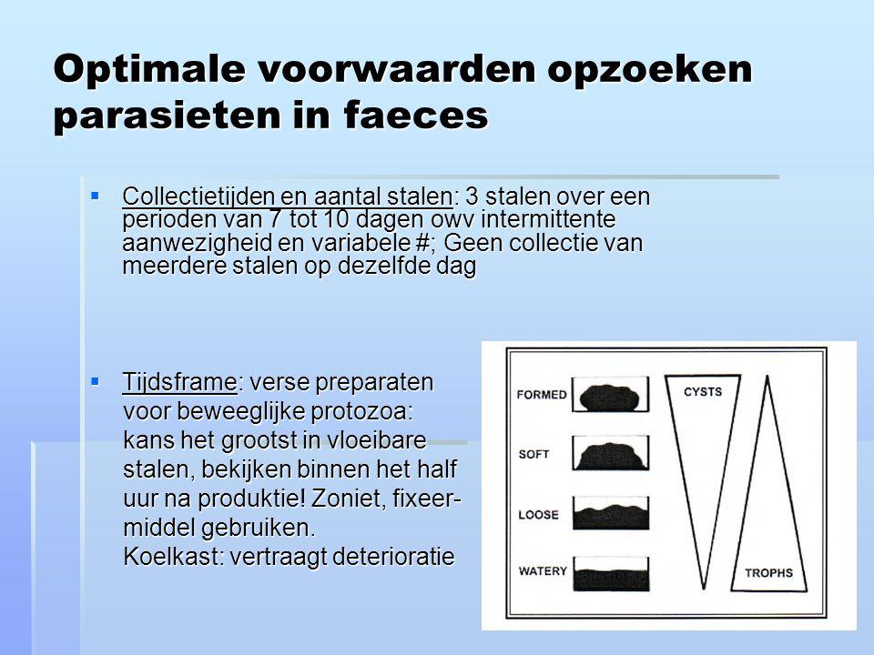 Optimale voorwaarden opzoeken parasieten in faeces