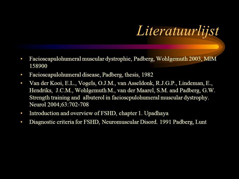 Literatuurlijst Facioscapulohumeral muscular dystrophie, Padberg, Wohlgemuth 2003, MIM 158900. Facioscapulohumeral disease, Padberg, thesis, 1982.