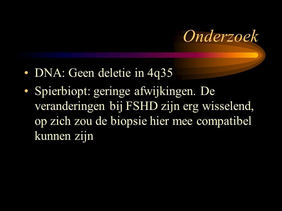 Onderzoek DNA: Geen deletie in 4q35