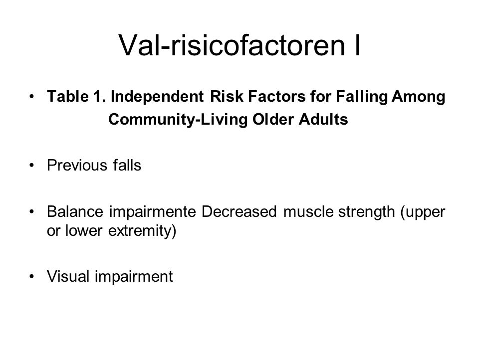 Val-risicofactoren I Table 1. Independent Risk Factors for Falling Among. Community-Living Older Adults.