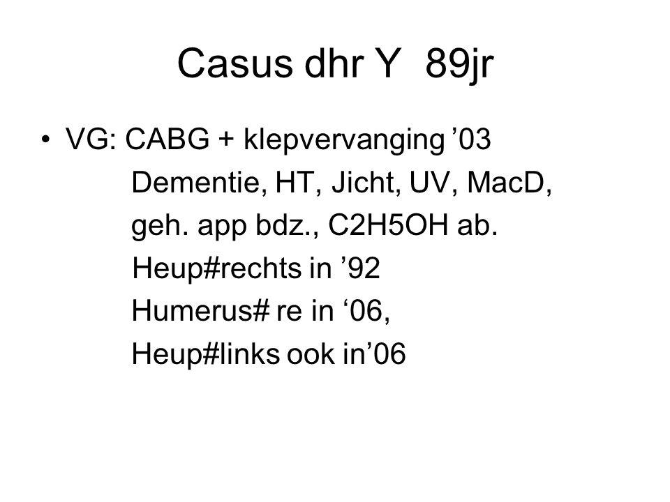 Casus dhr Y 89jr VG: CABG + klepvervanging '03