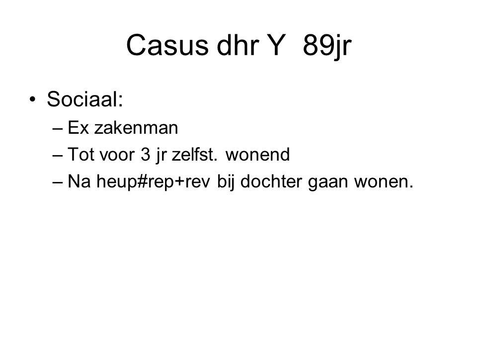 Casus dhr Y 89jr Sociaal: Ex zakenman Tot voor 3 jr zelfst. wonend