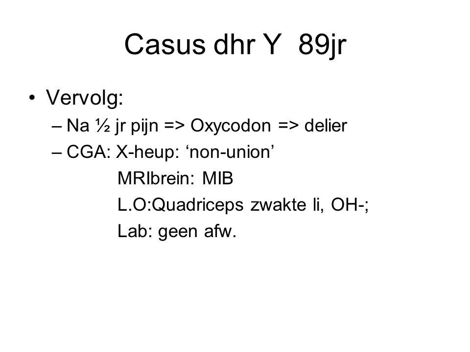 Casus dhr Y 89jr Vervolg: Na ½ jr pijn => Oxycodon => delier