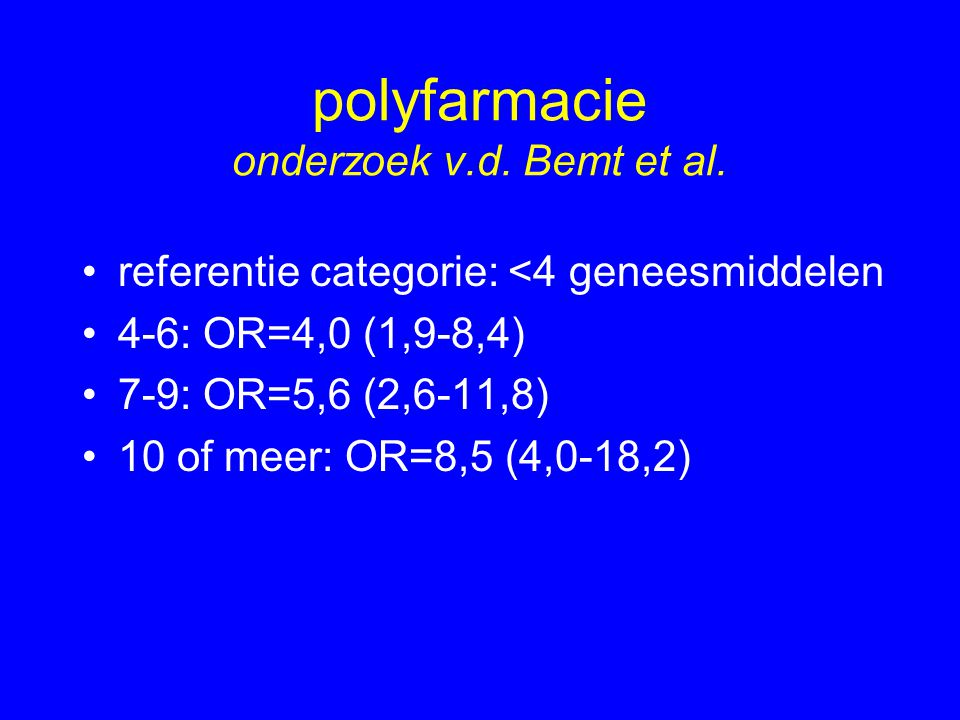 polyfarmacie onderzoek v.d. Bemt et al.