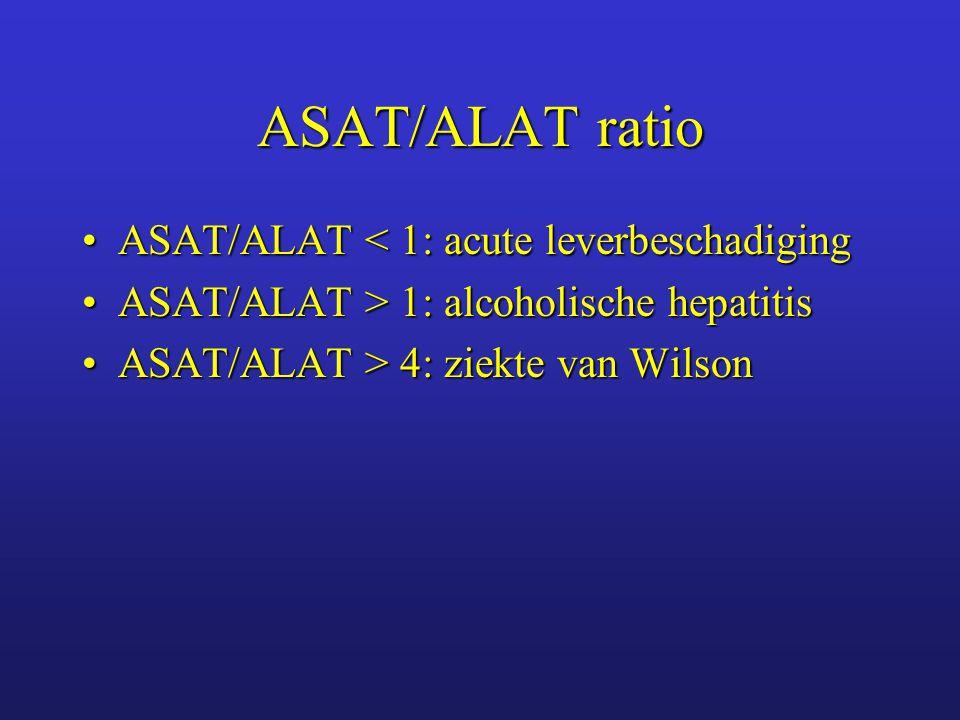 ASAT/ALAT ratio ASAT/ALAT < 1: acute leverbeschadiging