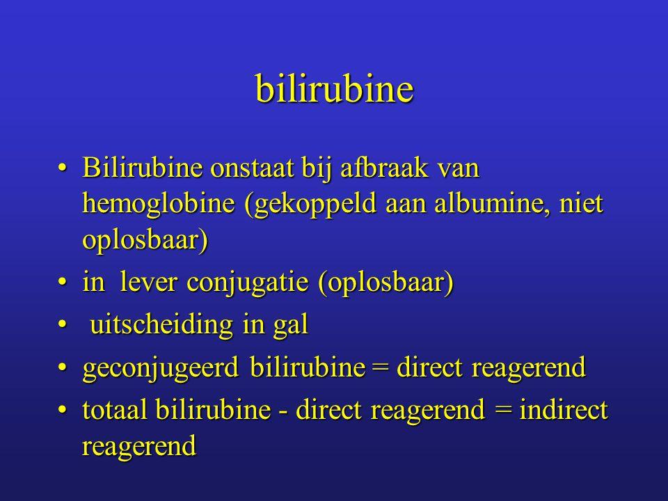 bilirubine Bilirubine onstaat bij afbraak van hemoglobine (gekoppeld aan albumine, niet oplosbaar) in lever conjugatie (oplosbaar)