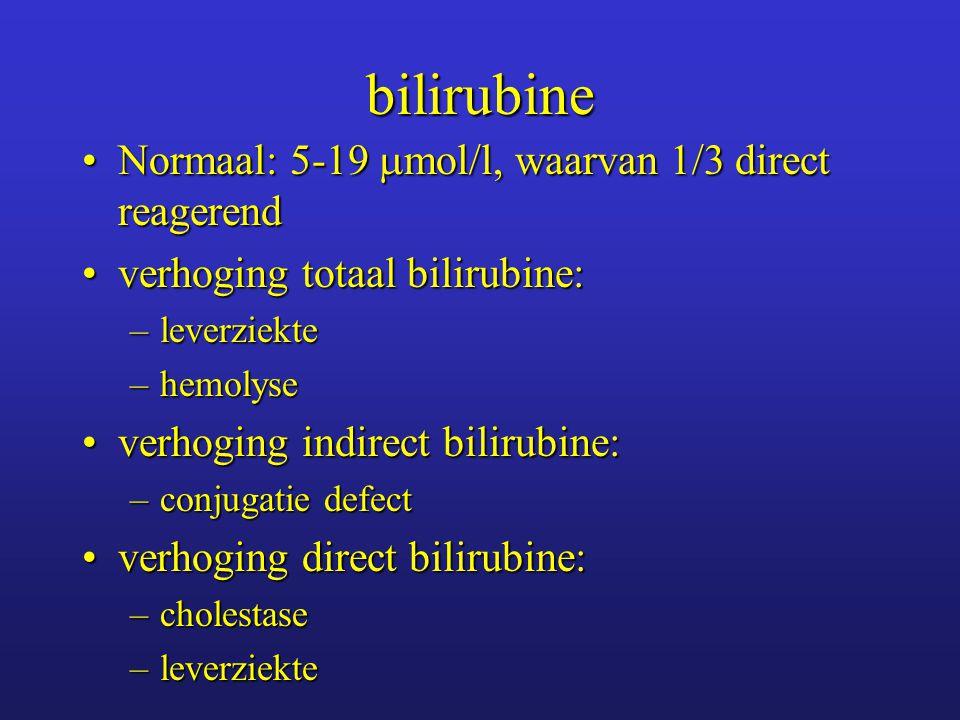 bilirubine Normaal: 5-19 mol/l, waarvan 1/3 direct reagerend