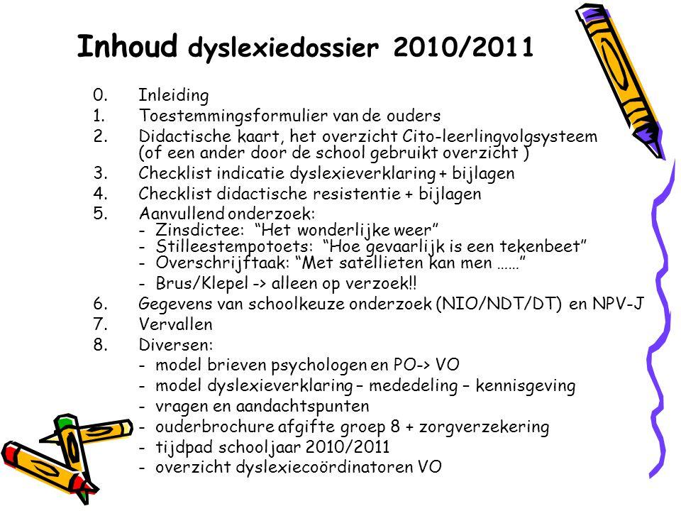 Inhoud dyslexiedossier 2010/2011