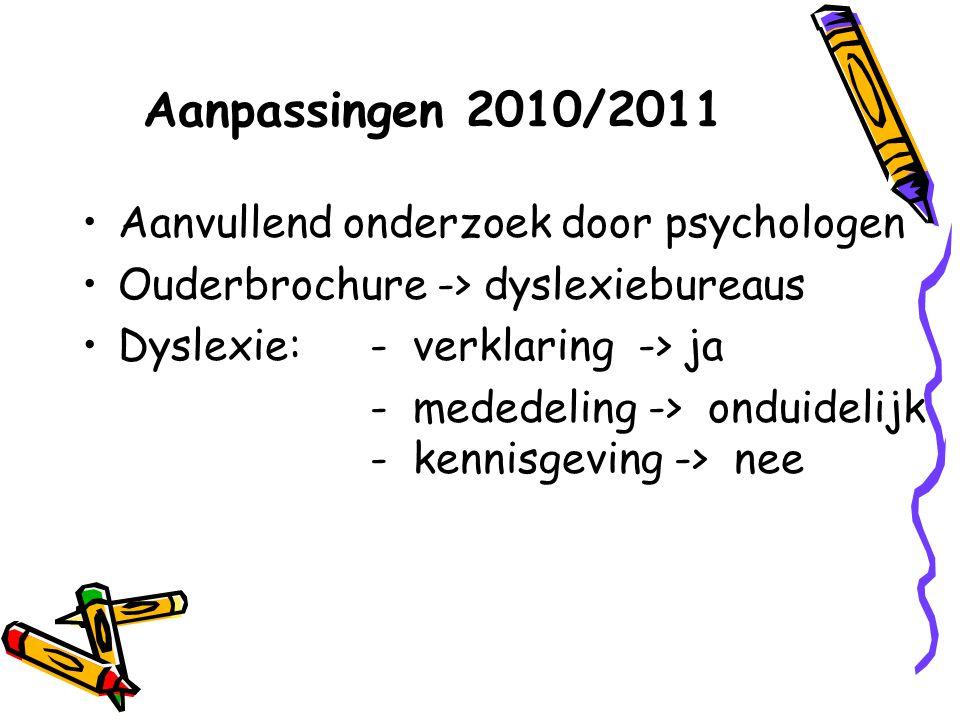 Aanpassingen 2010/2011 Aanvullend onderzoek door psychologen