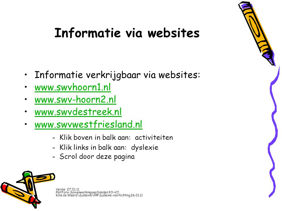 Informatie via websites