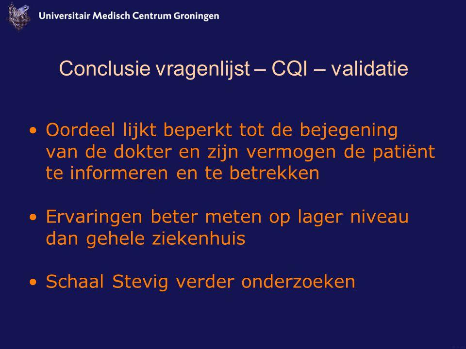 Conclusie vragenlijst – CQI – validatie
