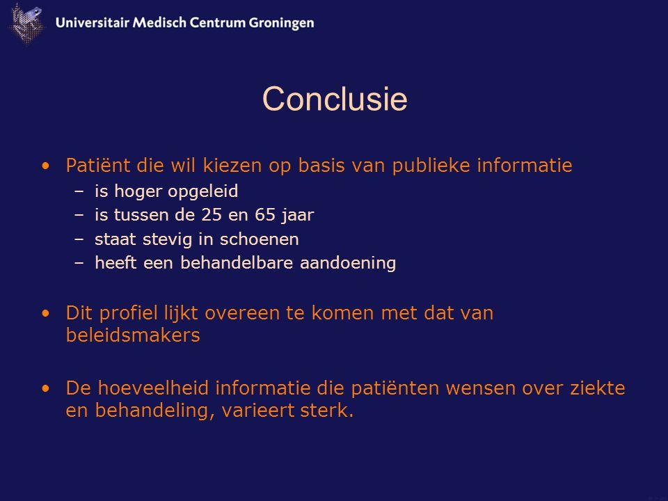 Conclusie Patiënt die wil kiezen op basis van publieke informatie