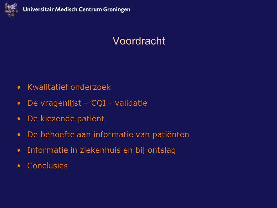 Voordracht Kwalitatief onderzoek De vragenlijst – CQI - validatie