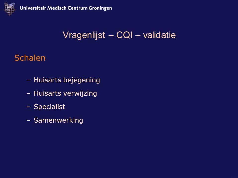 Vragenlijst – CQI – validatie