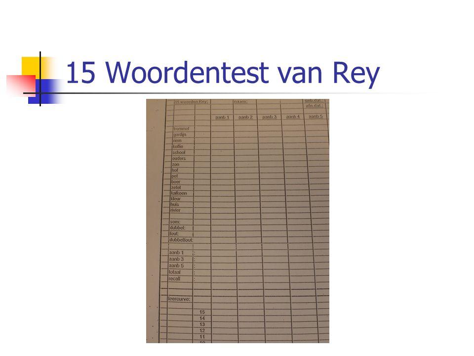 15 Woordentest van Rey