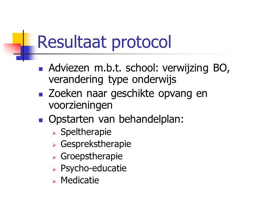 Resultaat protocol Adviezen m.b.t. school: verwijzing BO, verandering type onderwijs. Zoeken naar geschikte opvang en voorzieningen.