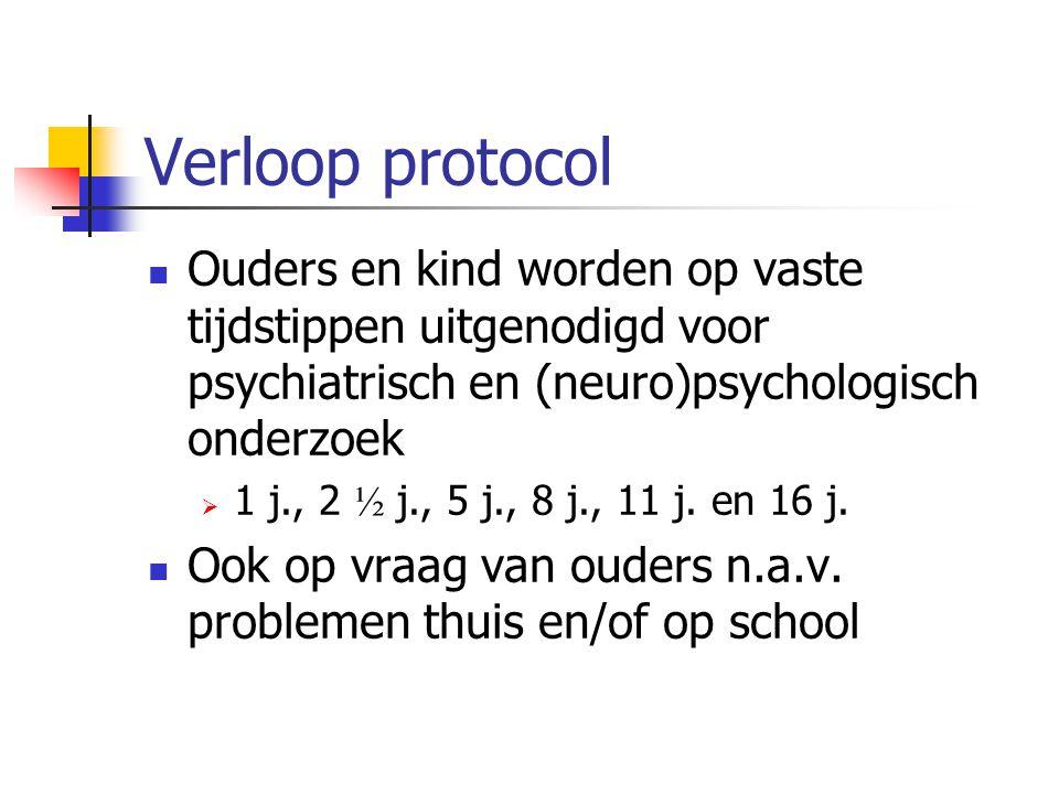 Verloop protocol Ouders en kind worden op vaste tijdstippen uitgenodigd voor psychiatrisch en (neuro)psychologisch onderzoek.
