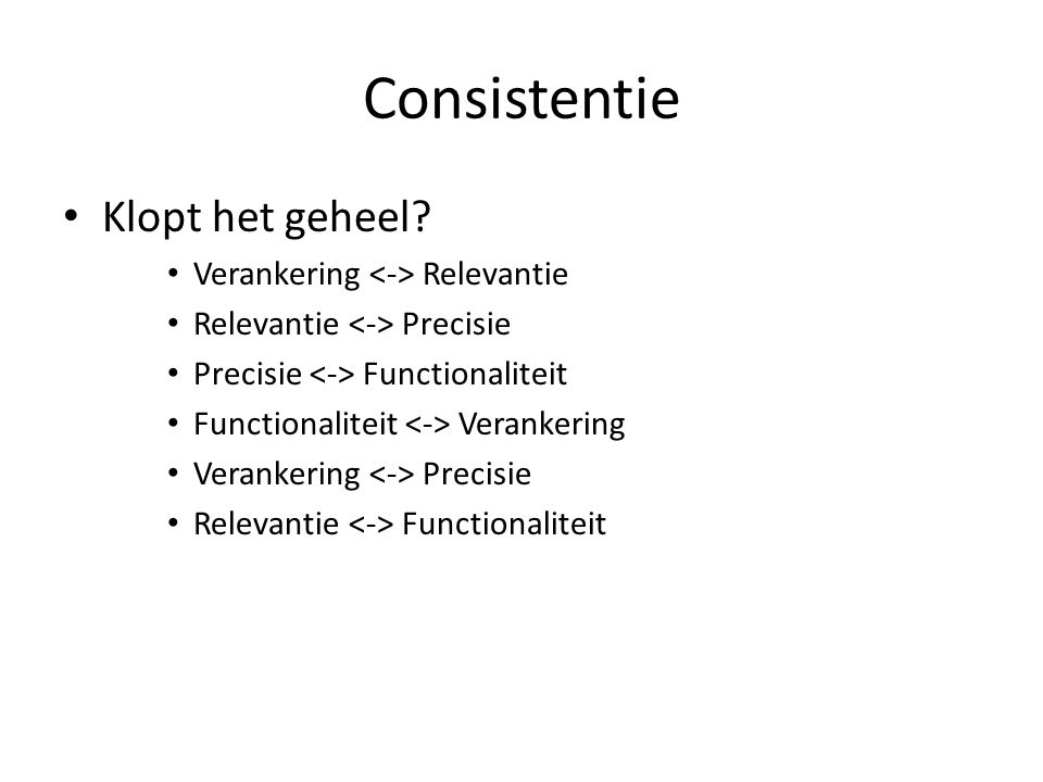 Consistentie Klopt het geheel Verankering <-> Relevantie