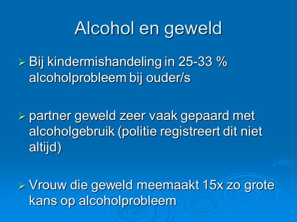 Alcohol en geweld Bij kindermishandeling in 25-33 % alcoholprobleem bij ouder/s.