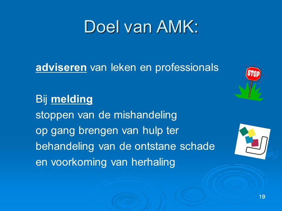 Doel van AMK: adviseren van leken en professionals Bij melding