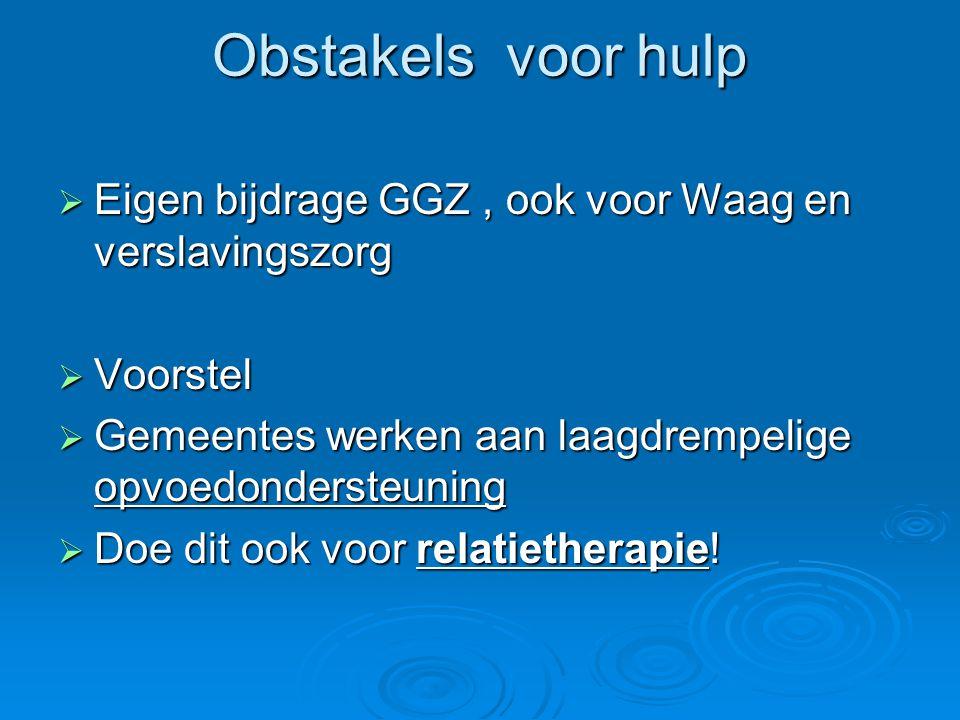 Obstakels voor hulp Eigen bijdrage GGZ , ook voor Waag en verslavingszorg. Voorstel. Gemeentes werken aan laagdrempelige opvoedondersteuning.