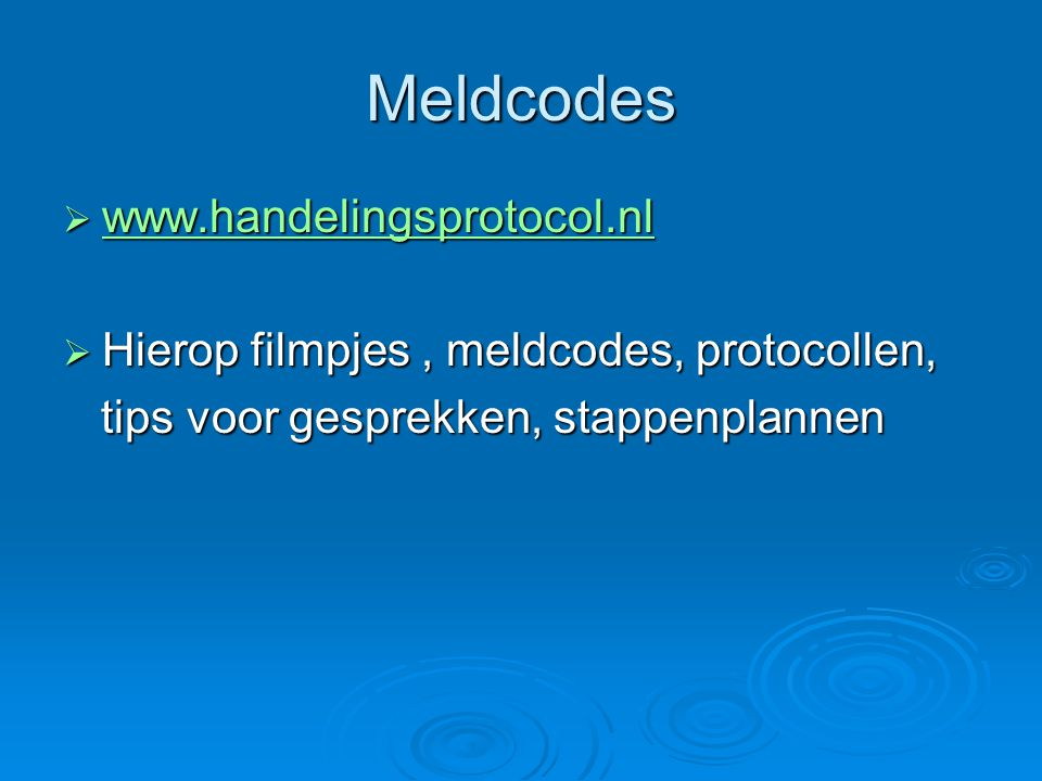 Meldcodes www.handelingsprotocol.nl