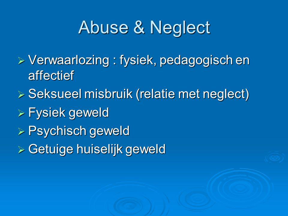 Abuse & Neglect Verwaarlozing : fysiek, pedagogisch en affectief