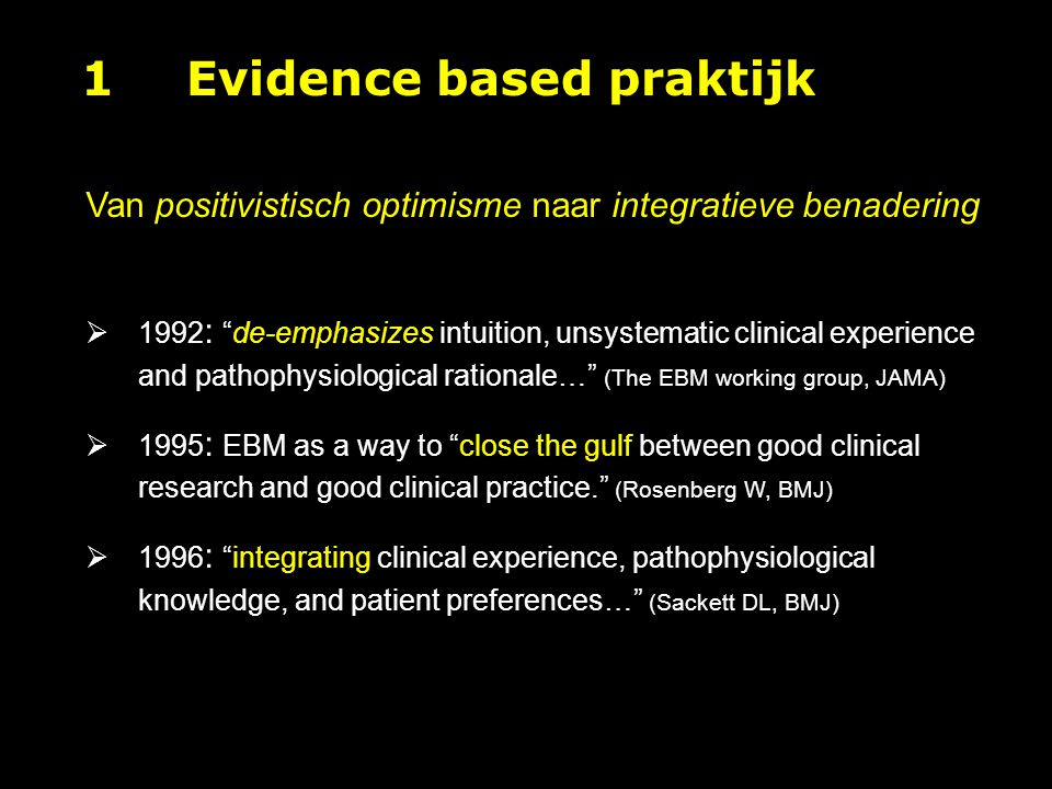 1 Evidence based praktijk