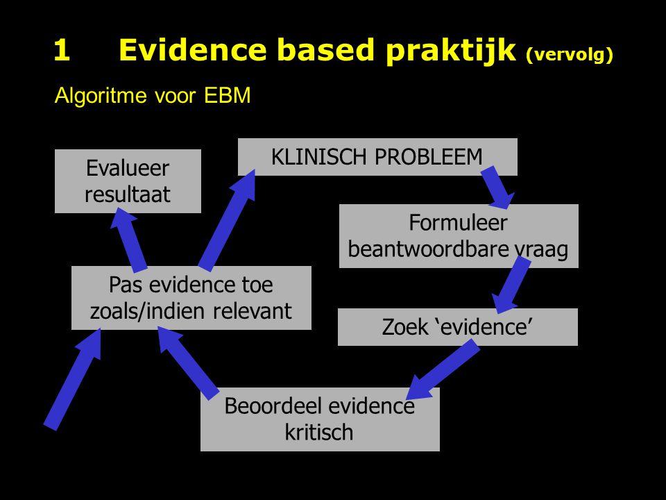 1 Evidence based praktijk (vervolg)