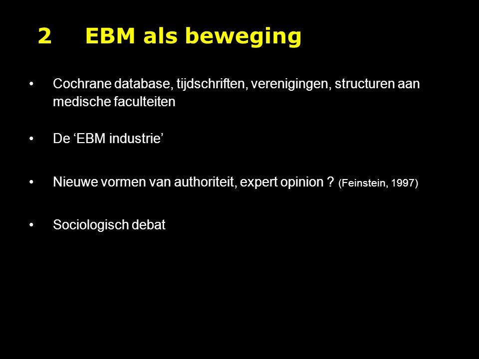 2 EBM als beweging Cochrane database, tijdschriften, verenigingen, structuren aan medische faculteiten.