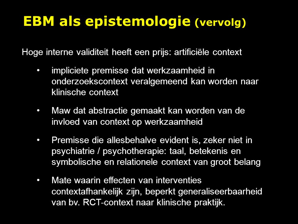 EBM als epistemologie (vervolg)