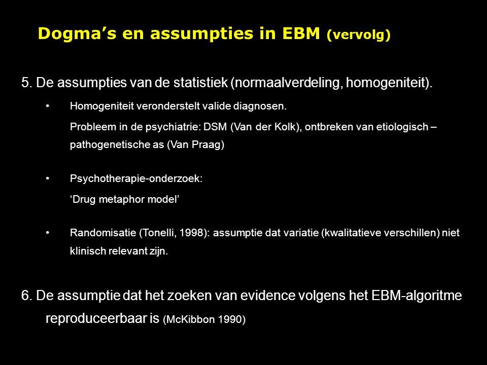 Dogma's en assumpties in EBM (vervolg)