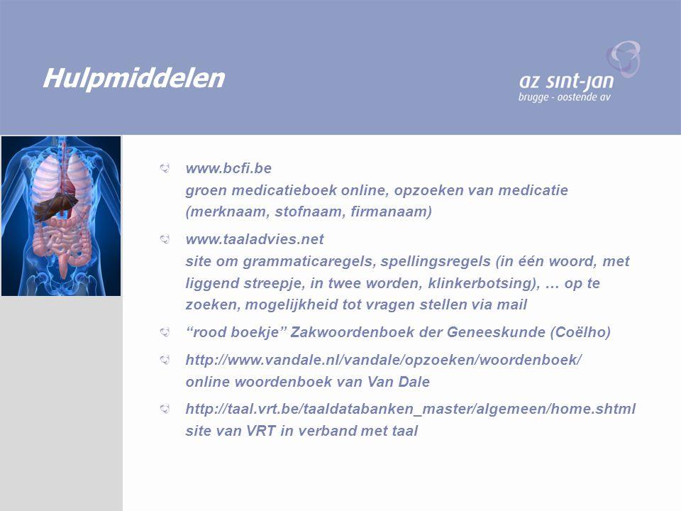 Hulpmiddelen www.bcfi.be groen medicatieboek online, opzoeken van medicatie (merknaam, stofnaam, firmanaam)