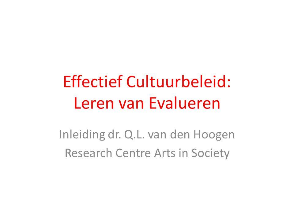 Effectief Cultuurbeleid: Leren van Evalueren