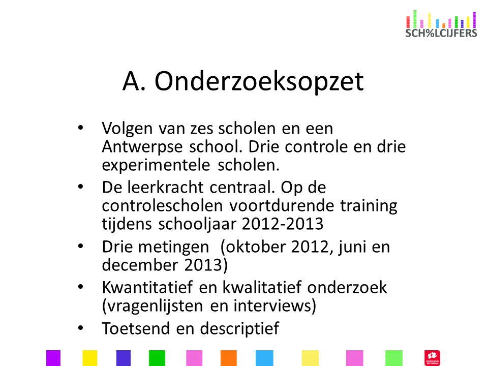 A. Onderzoeksopzet Volgen van zes scholen en een Antwerpse school. Drie controle en drie experimentele scholen.