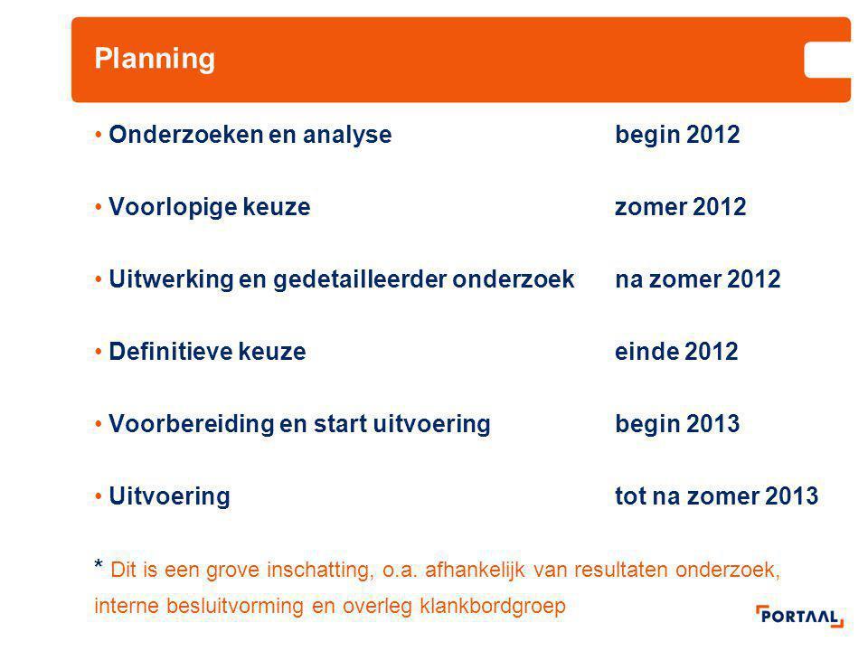 Planning Onderzoeken en analyse begin 2012 Voorlopige keuze zomer 2012