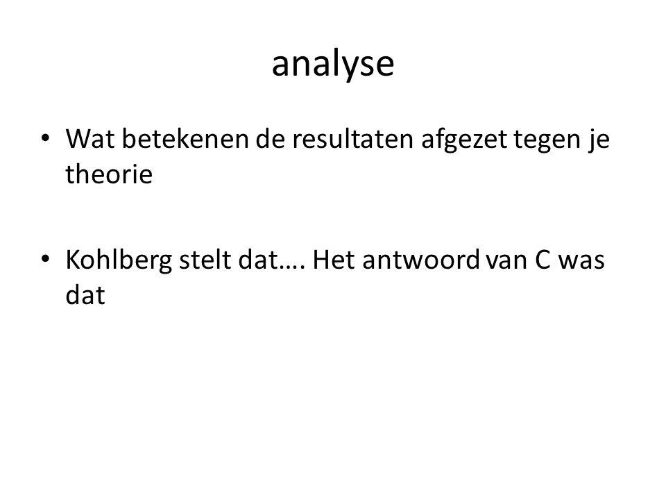 analyse Wat betekenen de resultaten afgezet tegen je theorie