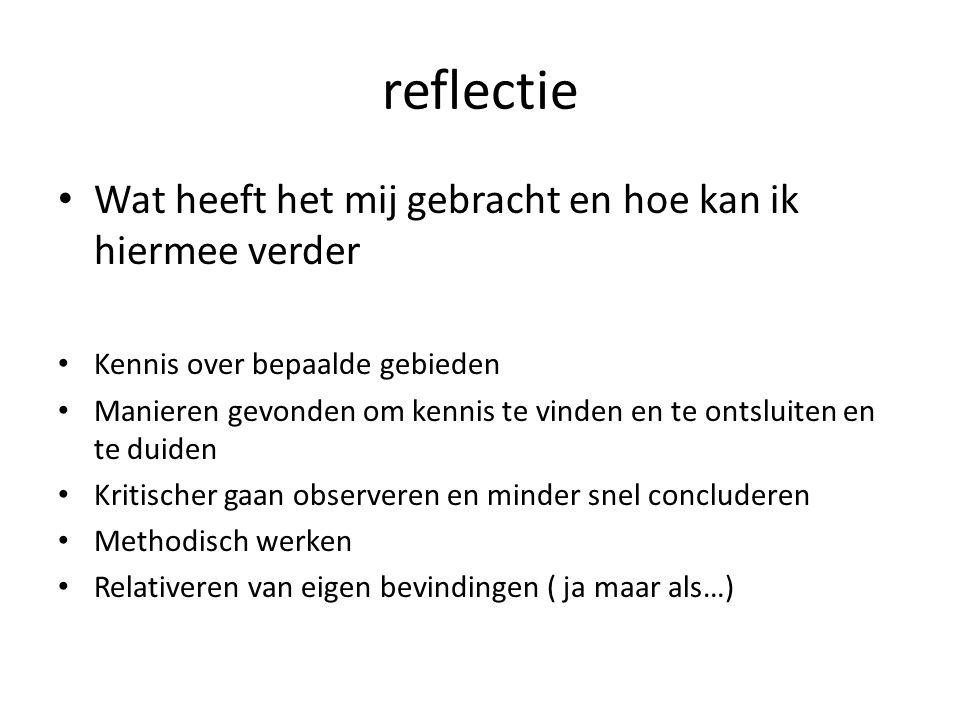reflectie Wat heeft het mij gebracht en hoe kan ik hiermee verder