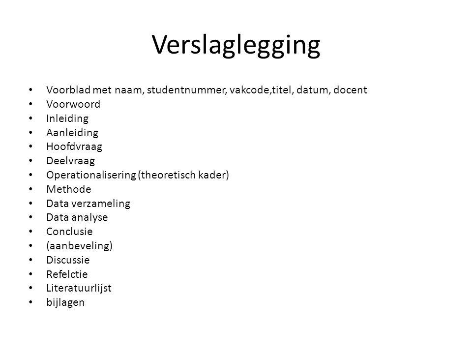 Verslaglegging Voorblad met naam, studentnummer, vakcode,titel, datum, docent. Voorwoord. Inleiding.